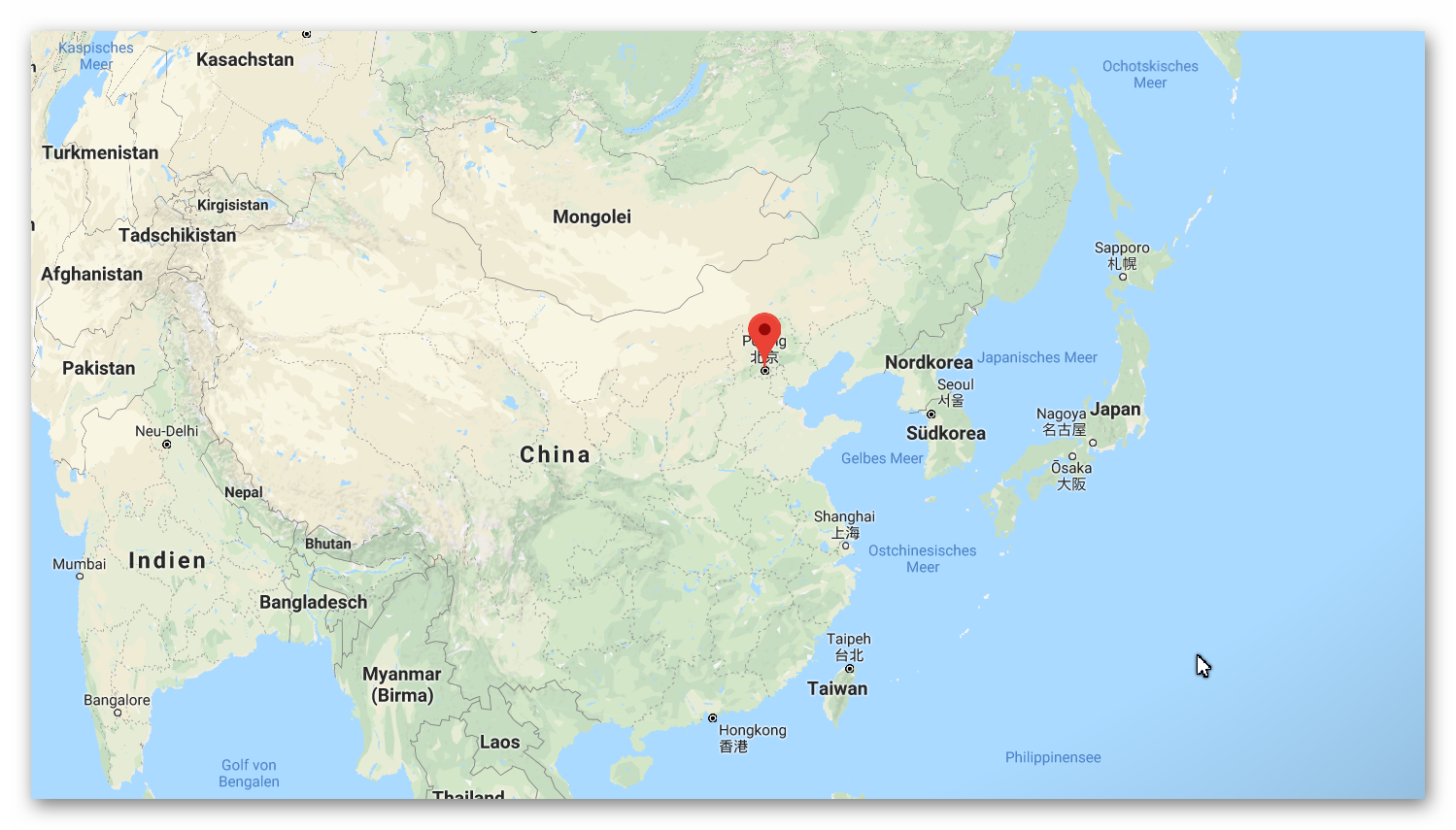 China and Japen on the map
